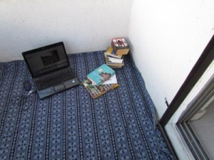My favourite places to blog and read, my bedroom balcony.
